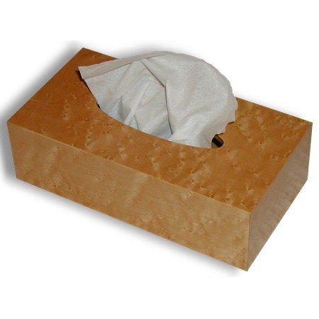 Wooden Tissue Box Cover In Birdseye Maple Veneer Rectangular Junior Size. Size.