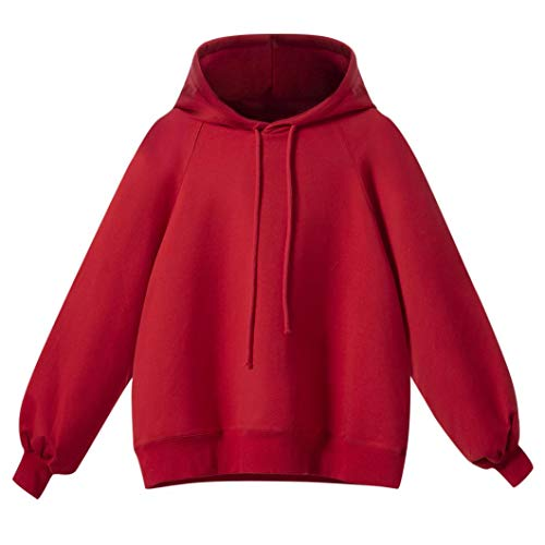 - Women Lantern Sleeve Sweatshirt,Women's Long Sleeve Loose Thin Hooded Tops ANJUNIE Sport Pullover(Red,XL