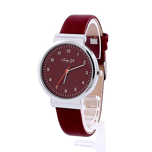 Women Flower Watches COOKI Clearance Ladies Watches Female Watches on Sale Cheap Leather Wrist Watch-Q93 (Red)