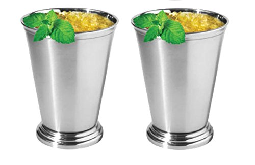 Oggi Mint Julep Cup, 12 oz, Stainless Steel 9015 Set of (2) (Stainless Julep Cup Steel)