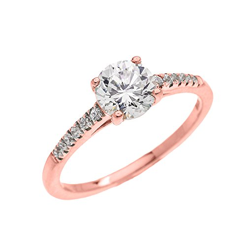 Dainty 10k Rose Gold Cubic Zironia Solitaire Proposal and Engagement Ring (Micro Pave Setting) (Size 6.5)