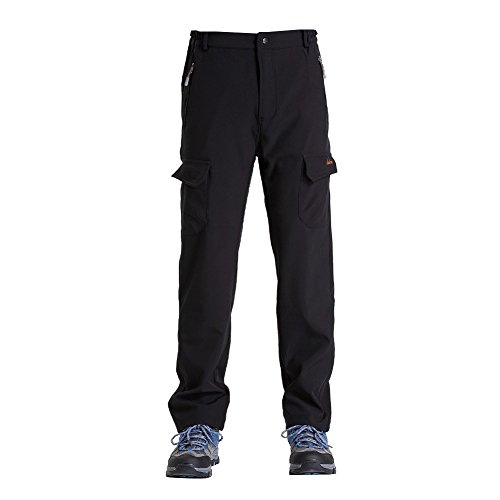 Clothin Mens Winter Pants - Hiking Cargo Sports Pants/ Fleece Lined/ Water-repellent(US XL,Black)
