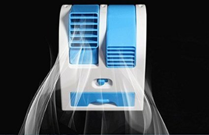 Naivete Mini Fan  amp; Portable Dual Bladeless Small Water Air Cooler/Conditioner Powered by USB and Battery, Multicolor
