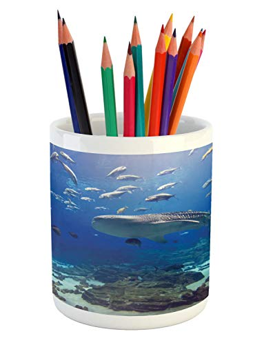 Lunarable Ocean Whale Pencil Pen Holder, Photo from Atlanta Aquarium Various Fishes and Big Mammal, Printed Ceramic Pencil Pen Holder for Desk Office Accessory, Cobalt Blue Slate Blue Seafoam
