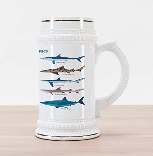 - Ambesonne Shark Beer Stein Mug, Types of Sharks Pattern Whaler Piked Dogfish Whlae Shark Maritime Design Nautical, Traditional Style Decorative Printed Ceramic Large Beer Mug Stein, Multicolor