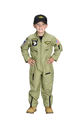 Aeromax Jr. Fighter Pilot Suit with Embroidered Cap, Size (Jr Flight Suit Kids Costumes)