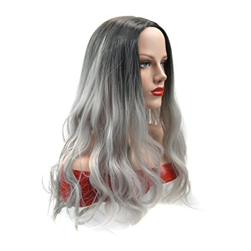 [DEESEE(TM) Personalized Long Curly Hair In Black Gradient Gray Grandmother Wig] (Making Waves Sailor Costume)