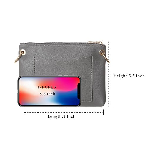 Separate Bag Pockets Small Gray Handbag Crossbody Crssobody Women For Wallet Shoulder Double twq65Apx6