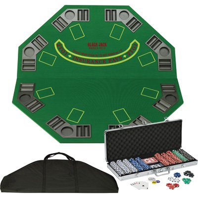 Fat Cat Folding Poker/Blackjack Tabletop and Poker Chip Set - For 8 Players by Fat Cat