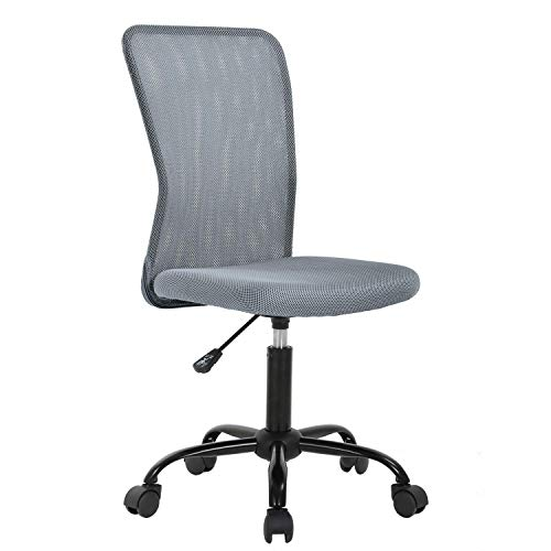Simple Office Chairs Ergonomic Small Cute Mesh Office Chair, Armless Lumbar Support for Home Office Chair, Chic Modern Desk PC Chair Grey, Mid Back Adjustable Swivel