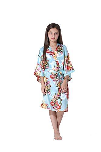 a3c8c4be81 Vogue Forefront Girls  Floral Print Satin Kimono Robe Bathrobe