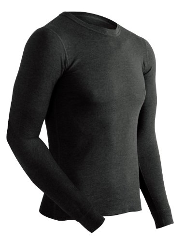 ColdPruf Men's Platinum Dual Layer Long Sleeve Crew Neck Top, Black, Large