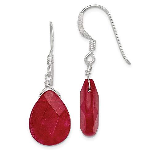925 Sterling Silver Red Jade Drop Dangle Chandelier Earrings Fine Jewelry Gifts For Women For Her ()