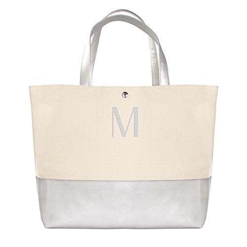 Cathy's Concepts Personalized Metallic Dipped Tote Bag, Silver, Letter ()