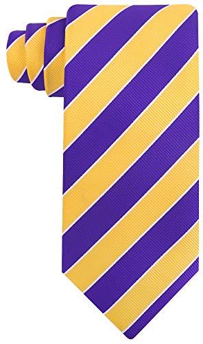 College Striped Ties for Men - Woven Necktie - Purple w/Yellow
