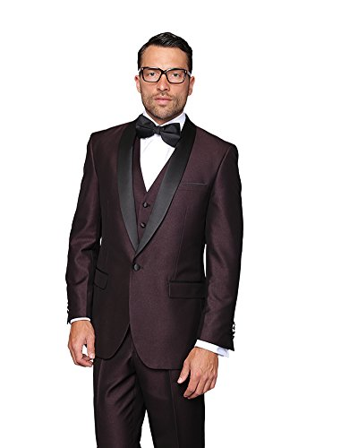 ENZO-PLUM Statement 3PC MEN'S SUIT. TUXEDO - Super 150's Mens Italian Suits