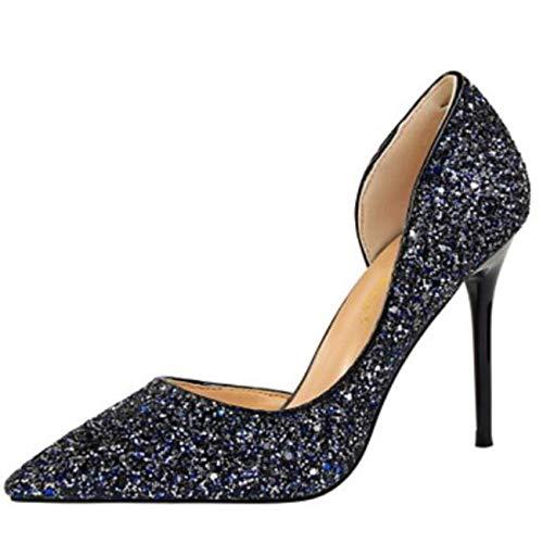 couleur or 6 Zhrui pour uk escarpins à bleu paillettes taille femmes qqYaXw8