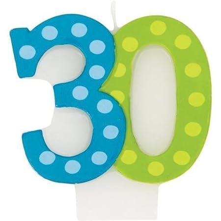 Brillante y Bold edad 30/30th cumpleaños Moldeado Vela de ...