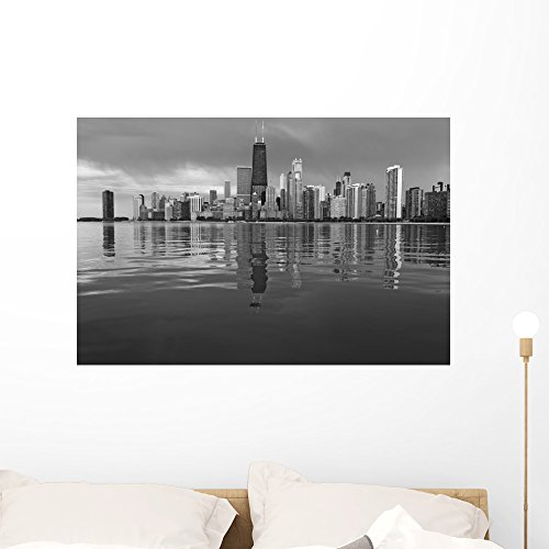 Chicago Skyline Wall Mural by Wallmonkeys Peel and Stick Graphic (36 in W x 24 in H) - Illinois Chicago Water Tower Place