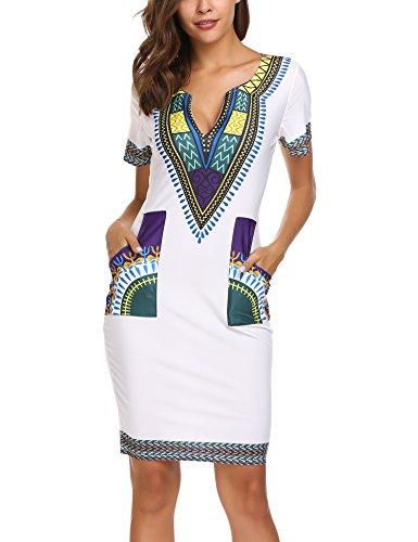 SE MIU Women Vintage African Print V-neck Dashiki Bodycon Short Sleeve Club - Vintage Miu Miu