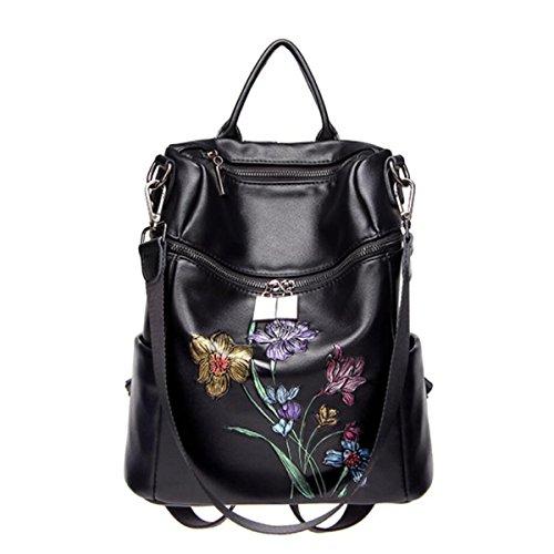 Señoras Multifuncional Mochila Bolso De Crossbody Negro Moda Lavable Cuero Suave Bordado Bolso Clásico Black