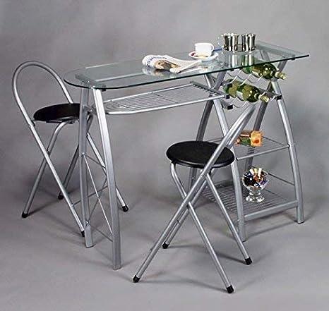 Merschbrock Trade GmbH Küchenbar mit 2 Stühlen, Glasplatte