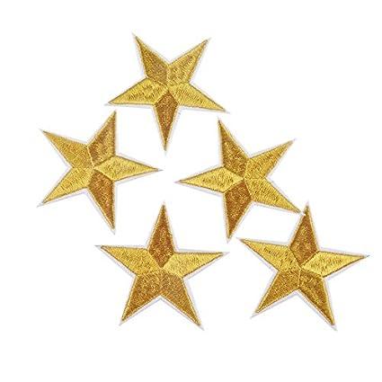 10 parches termoadhesivos estrella dorada bordada para ropa, scrapbooking, costura.
