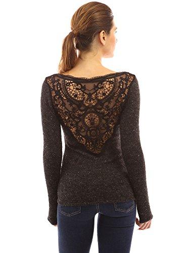 Marled V-neck Sweater (PattyBoutik Women's V Neck Lace Back Marled Knit Sweater (Heather Black M))