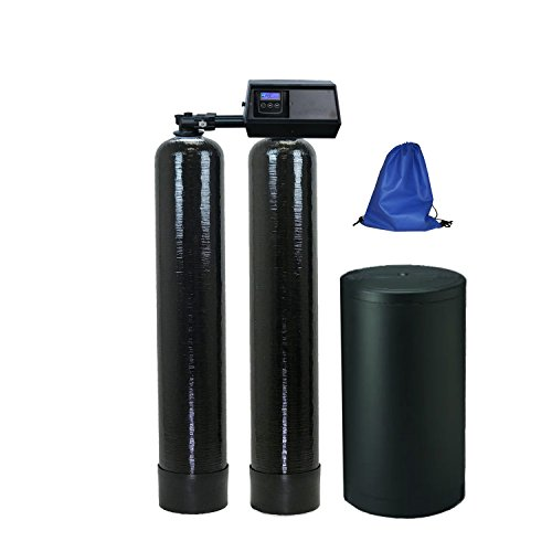 Fleck 9100sxt Water Softener 48,000 Capacity with Upgraded 10% Resin, Black