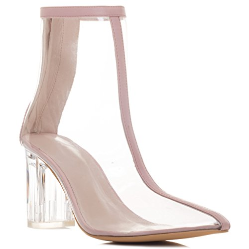 Spylovebuy SO Extra Women's Pointed Toe Block Heel Ankle Boots Shoes Nude Synthetic