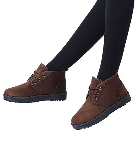 XMeden Women's Casual Lace Up Snow Boots Lightweight Walking Shoes Sneakers Brown u2o8tkm
