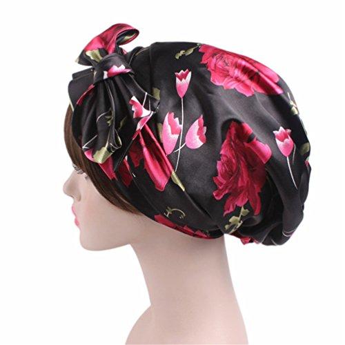 Salon Bonnet (Head Scarf Bonnet Sleeping Cap - Floral Salon Satin Summer silk hair Curling Rods)