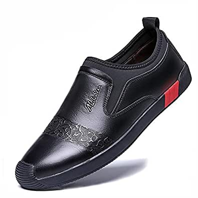 FYdgds Men's Business Casual Leather Shoes Soft Upper Embossed Slip-on Soft Bottom Breathable Loafers (Color : Black, Size : 38 EU)