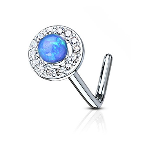 Synthetic Opal Dome Top L-Shaped Surgical Steel Nose Ring Stud 20 Gauge (Blue) ()