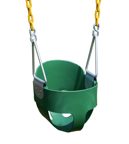 Eastern Jungle Gym Heavy-Duty High Back Full Bucket Toddler Swing Seat with Coated Swing Chains Fully Assembled (Bucket Rust)