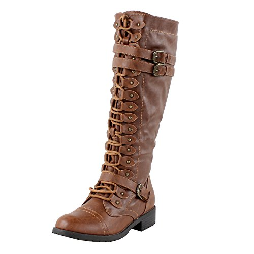 Wild Diva Women's Fashion Timberly-65 Military Knee High Combat Boots Shoes Cognac 9 -