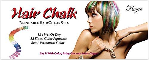 Royie Temporary Hair Chalk Set Non Toxic Rainbow Colored
