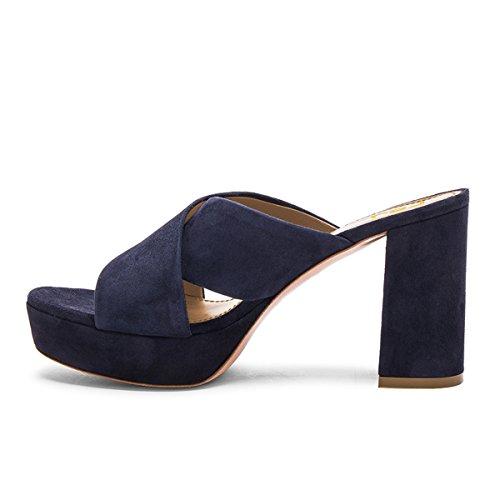 Fsj Femmes Occasionnels Faux Daim Mules À Bout Ouvert Plate-forme Sandales Chunky Talon Confort Chaussures Taille 4-15 Us Navy-8 Cm