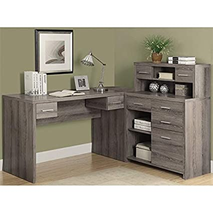 Amazon.com: BOWERY HILL L Shaped Computer Desk with Hutch in ...