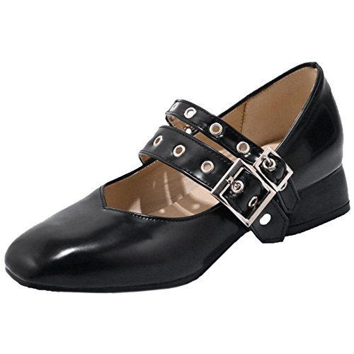 Low KemeKiss Heel Black Women Shoes Jane Mary Pumps P15H1wq