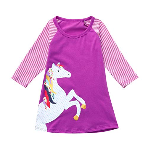 Princess Party Dress,1-8 Years Toddler Baby Girl Kid Cartoon Horse Stripe Print Clothes (12-18 Months, Hot Pink) ()