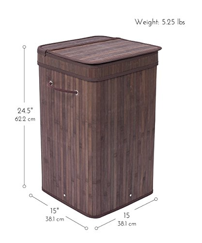BirdRock Home Square Laundry Hamper with Lid and Cloth Liner | Bamboo | Espresso | Easily Transport Laundry Basket | Collapsible Hamper | String Handles by BirdRock Home (Image #3)