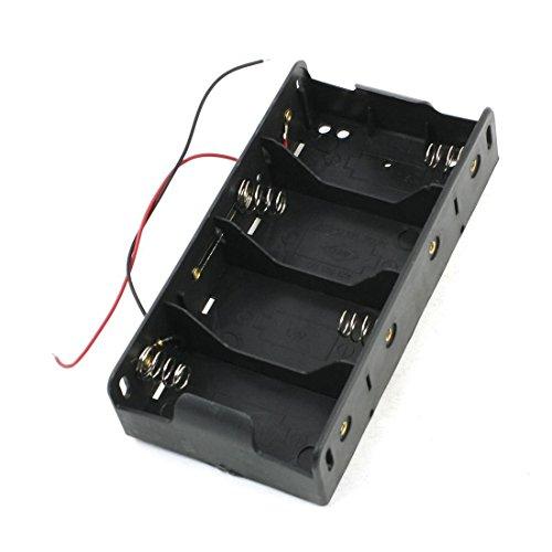 SODIAL(R) Spring Clip Black 4 x 1.5V D Size Battery Batteries Holder Case
