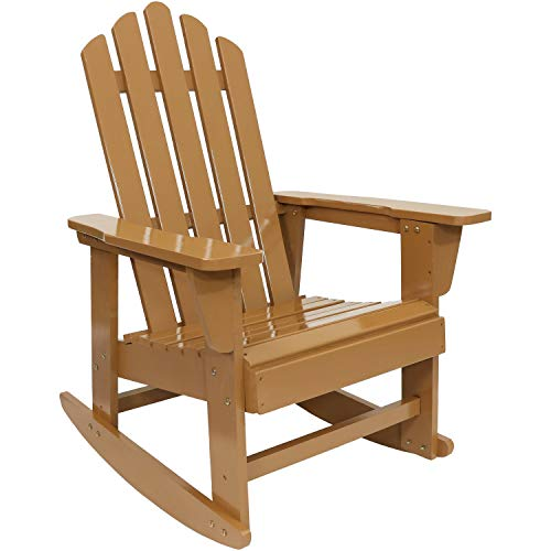 Sunnydaze Classic Wooden Adirondack Rocking Chair with Cedar Finish, 250-Pound Capacity ()