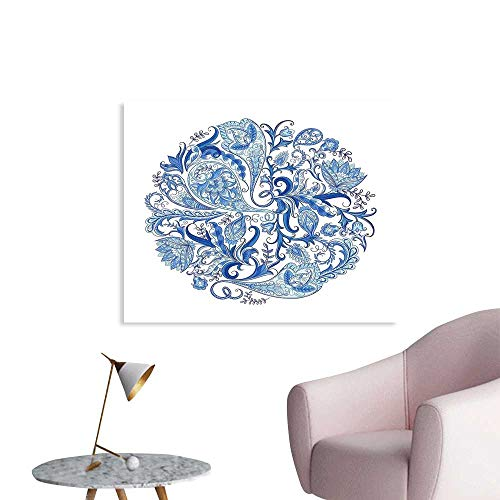(J Chief Sky Ethnic Decals Classic Paisley Petals Circular Shape Blue Tones Swirls Branches Motif Wall Stickers for Kids W36 xL32)
