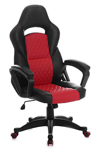 SEATZONE Upgraded Edition Leather Gaming Chair, Racing Style Large Bucket Seat Computer Desk Chair, Executive Office Swivel Chair with Curved Back, Red by SEATZONE