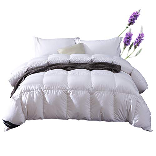 Globon Lavender Scented White Down Comforter King Size (106-Inch-by-90-Inch) 60oz, 300 Thread Count, 600 Fill Power, White