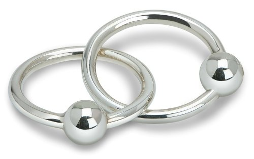 Krysaliis Sterling Silver Baby Teether Rattle, Two Ring