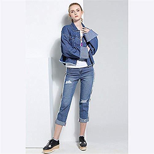 Giaccone Autunno Manica Jeans Tasche Bavero Outerwear Casual Moda Giacche Confortevole Lunga Corto Breasted Donna Anteriori Cappotto Elegante Giovane Single Blau wapdqEz