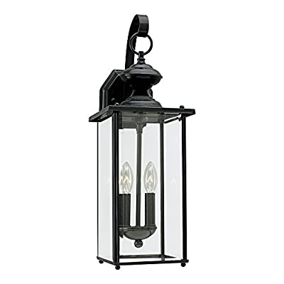 "Sea Gull Lighting 8257-12 Jamestowne One-Light Post Lantern with Clear Beveled Glass, 17"" H, Black"
